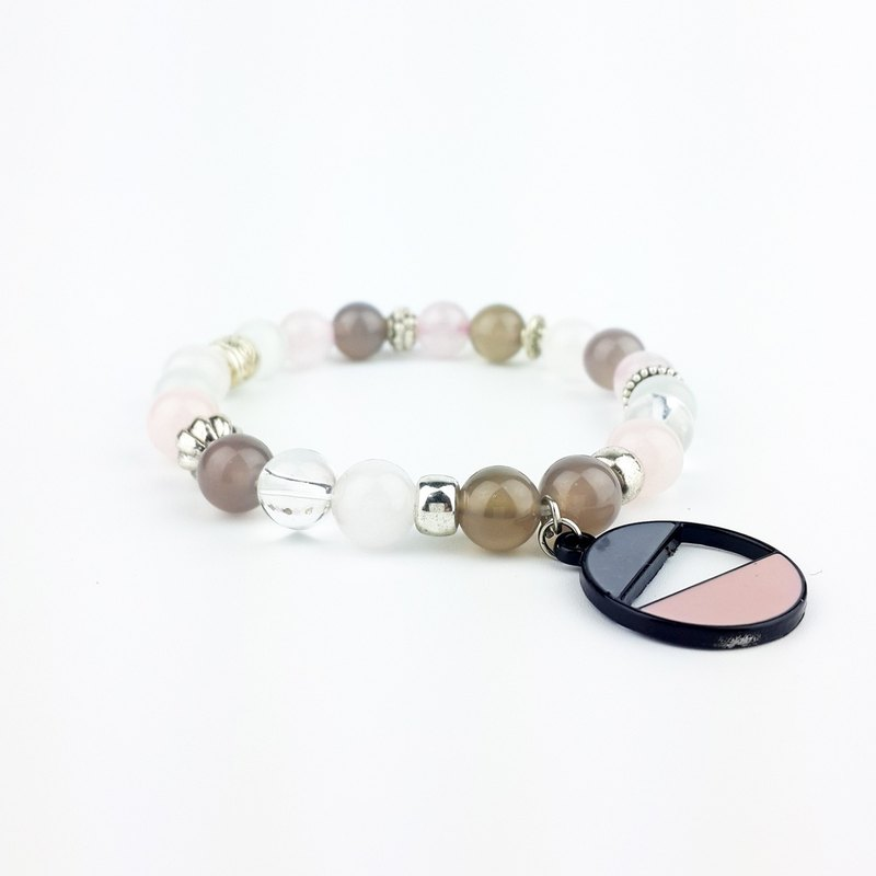 Geometry Series | Dark Grey + Powder Gray Agate White Cat's Eye White Chalcedony White Crystal Pink Crystal (Tibetan Silver x Bracelet x Bracelet x Handmade x. Customized.