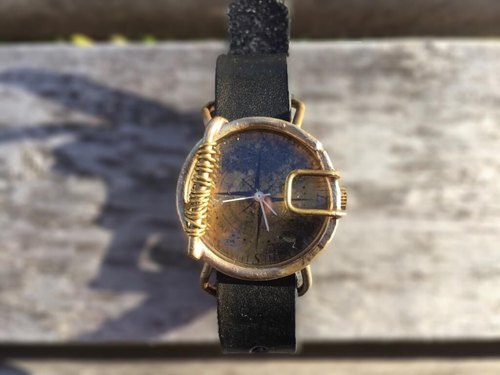 type: compass (handmade wristwatch ticking a journey of life with aging)