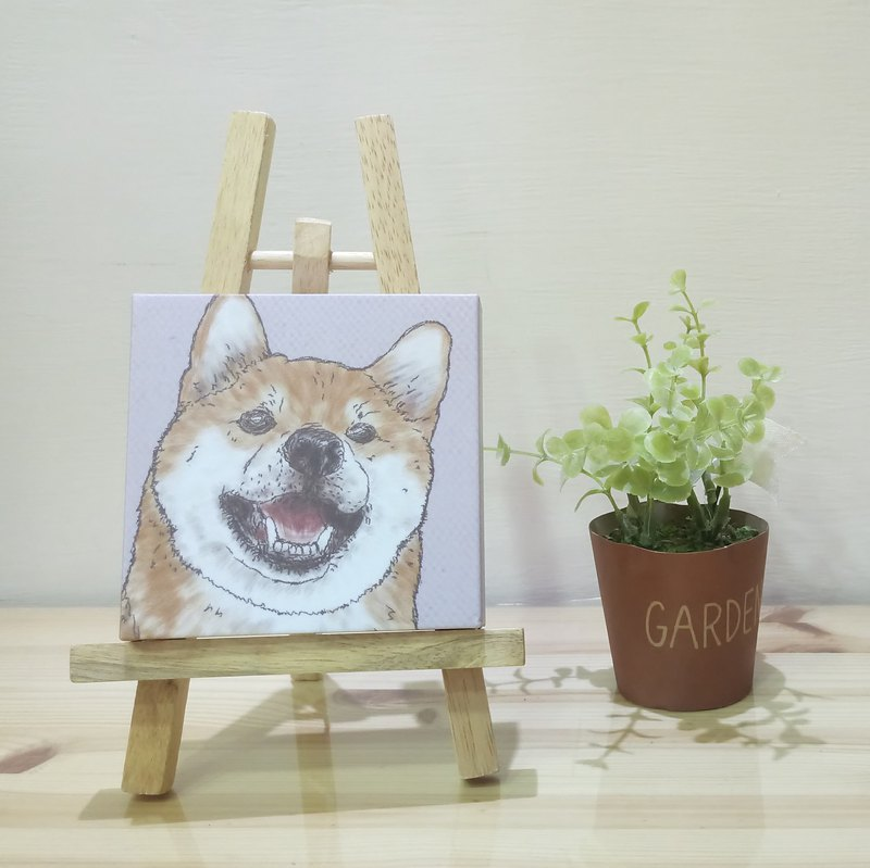 Small picture frame - lightweight frameless painting - Shiba Inu