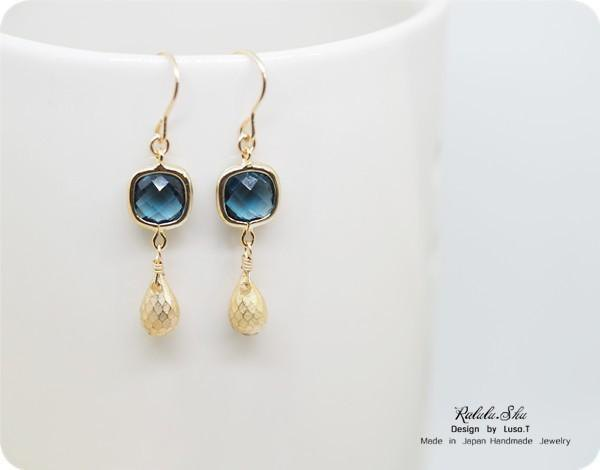 London blue glass and gold water drop earrings can be changed to earrings