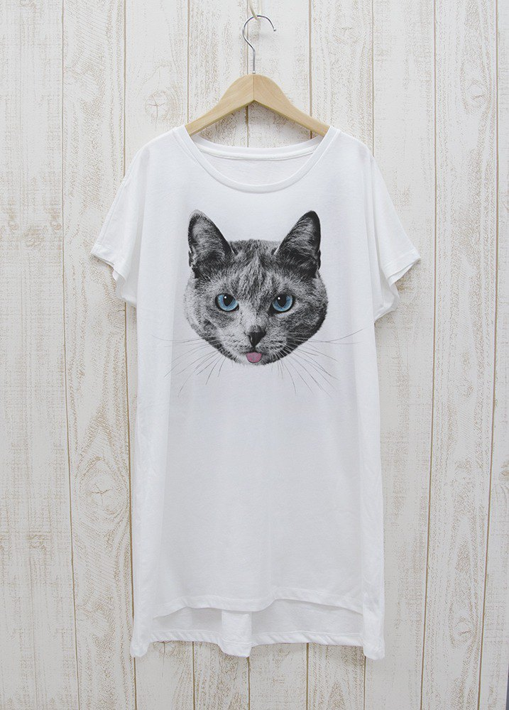 ronronCAT One Piece Dress Tee Beh (White) / RPT019-WH