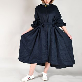 Autumn and winter shirt long dress jacket blue black