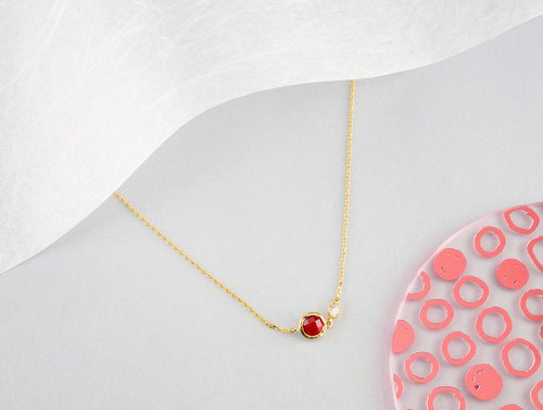 Edith & Jaz • Birthstone with CZ Collection - Garnet QuartzNecklace(Jan)
