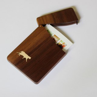 "business card holder ""cat no.1"" Slim name-card case  Walnut and Maple"