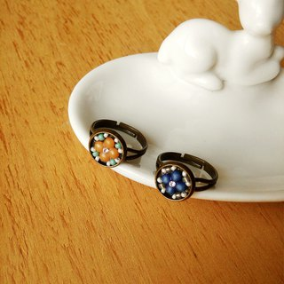 Deco tiles adjustable ring MAJOLICA blue orange mosaic beads flower vintage
