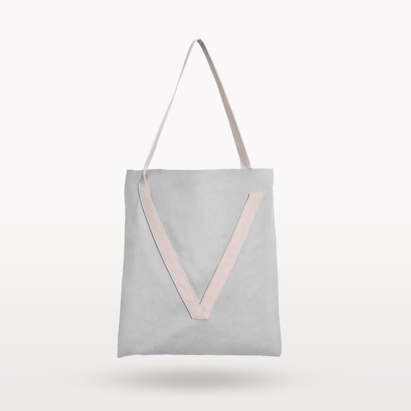 Pale grey & Misty pink V-strap shoulder bag