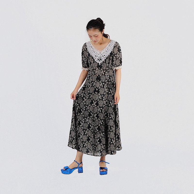 【蛋植物古着】織夢蕾絲長版印花古著洋裝