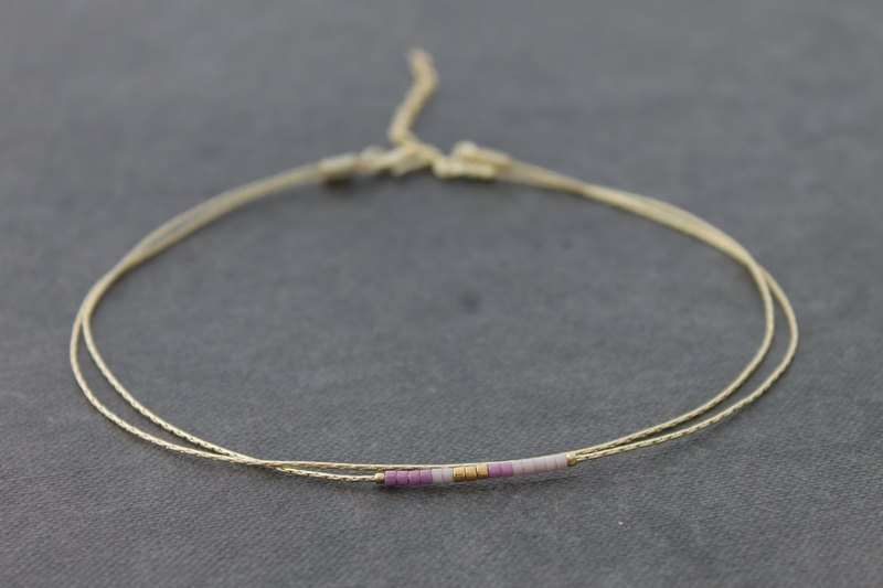 Simple Lilac Tiny Beaded Gold Chain Anklets Minimal Boho Anklets