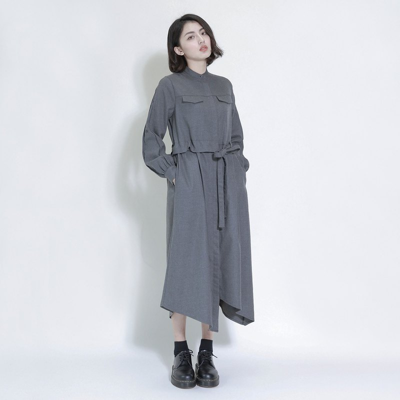 SU: MI said Abyss abyss asymmetric wool dress _7AF113_ ash