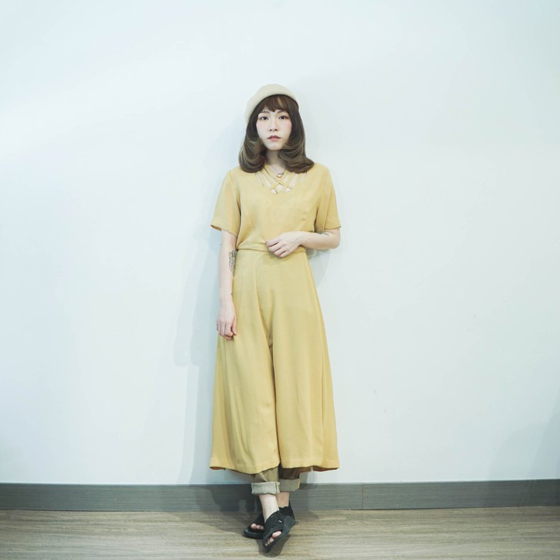 Vintage II Japanese II goose yellow hollow design vintage dress II