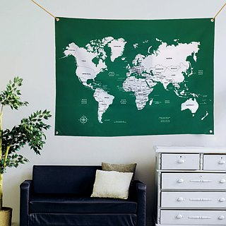 Customized world map cloth dark green tarpaulin