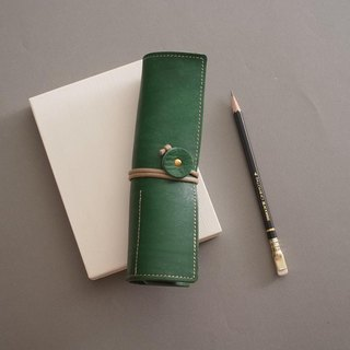 """RENÉE"" retro styling styling pen / pencil case / pen storage plant tanning carving leather / plant tannage / vegetable tannery forest green"