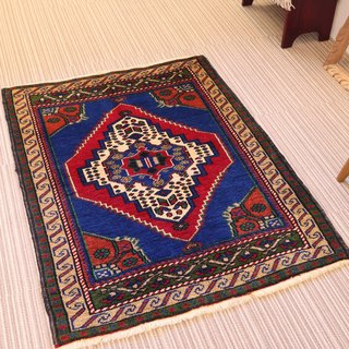 Beautiful blue and red hand-woven carpet plant dyeing wool rug Turkish kilim 108 × 84cm
