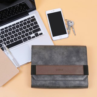 Dark Grey PU Faux Leather Small Envelope Clutch Bag