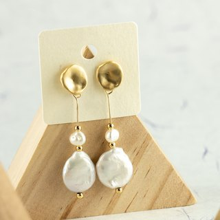 Edith & Jaz • Moon Disc Freshwater Coin Pearl Earrings