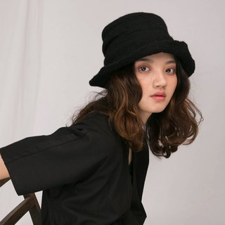 轲Artificial Original Design Spring and Autumn Winter England Handmade Pot Cap Solid Color Wool Unisex Japanese Elegant