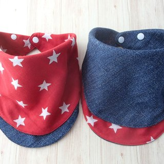 Baby Bandana Bib, Reversible Red Star, Denim Print, Japanese Double Gauze Cotton