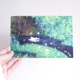 Japanese bunny floating illustration card postcard