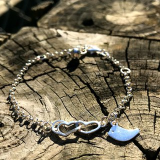 Z37 (can be typed) 925 sterling silver bracelet - double heart + bird - custom English alphanumeric - royal smith