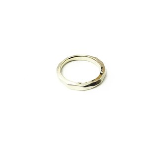 Golden Ring - Geometrical / trivial luck / tail ring / brass / side lithography