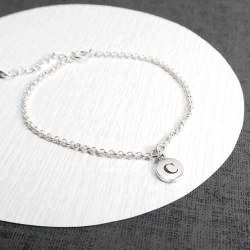 Simple Round Draped 925 Pure Customized Lettering Bracelet