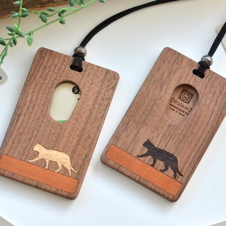 Wooden IC card case 【walking cat】 white and black / walnut