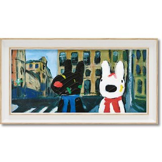 """Lisa and Casper"" horizontal frame copy painting - color OK stretch"
