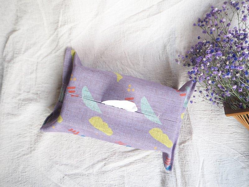 紫色棉麻日常居家紙巾套面紙盒