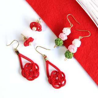 Goody Bag / red / japanese style pierce earring / mizuhiki / japan / accessory