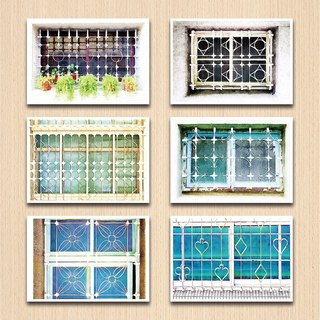 Old House-Yen - Geometric II Window Flower Postcard Set
