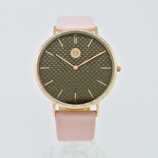 Carbon fiber surface thin steel watch (rose gold)