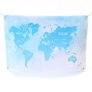 World map, hanging cloth, custom fabric, blue sky