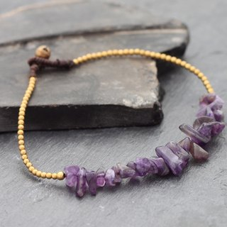 Amethyst Minimal Stone Anklet Beaded Brass