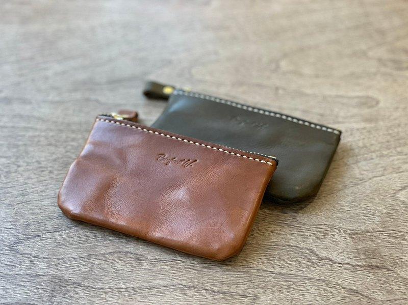 【手作革物】手作真皮拉鍊錢包-M尺寸(駝、咖、綠)