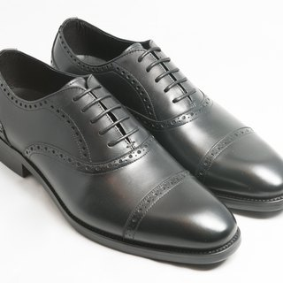 [LMdH] E1A18-99 Hand-colored Calfskin Genuine Leather & Capeto Carved Oxford Shoes Leather Shoes Men's Shoes - Black - Free Shipping