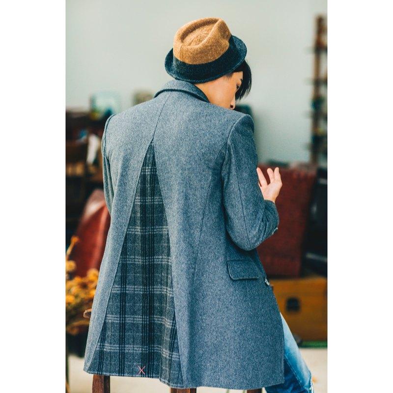 BACKBEAT 三角剪接毛料大衣 chester coat TRIANGLE STYLE