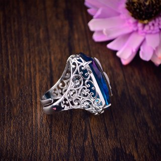 Italian handmade shell carved light jewelry - gorgeous large diamond carving ring-Luci-A56