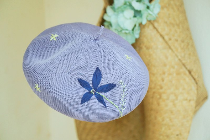 Deer chestnut hand-embroidered flowers spring and summer beret painter hat