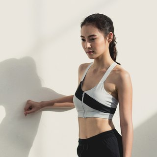 Zip Mesh Bra - Grey / Black