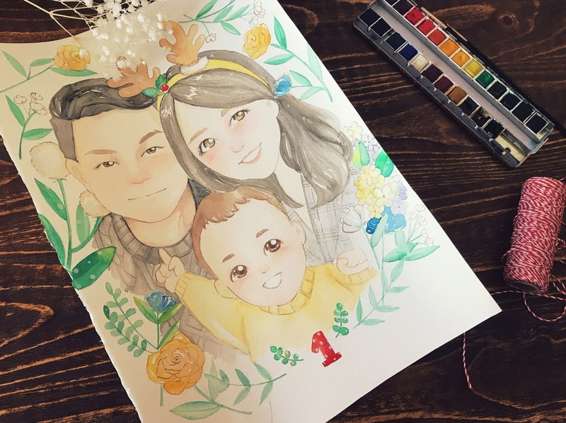 ◆ SS. Yan Feng Huaqiu ◆ A3 size family portrait (delicate style) custom watercolor hand-painted photo cartoon wedding portrait painting