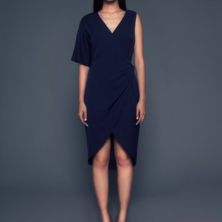 Rachel One-Shoulder Wrap Dress in Navy