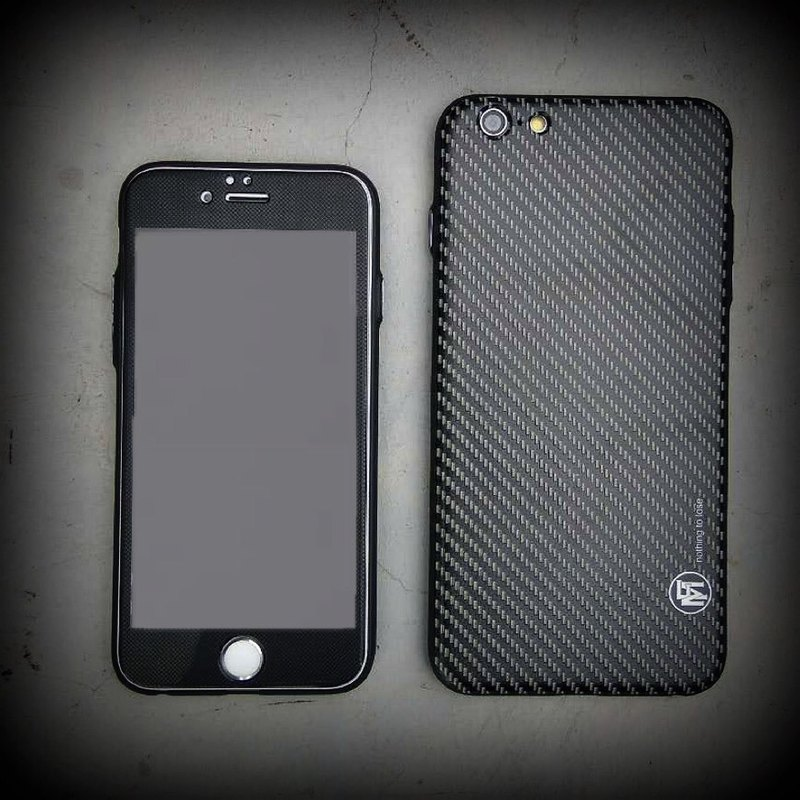 "Flame ""Men In Black"" Carbon totem Phone Case stylish black X Full Screen Protector combination"