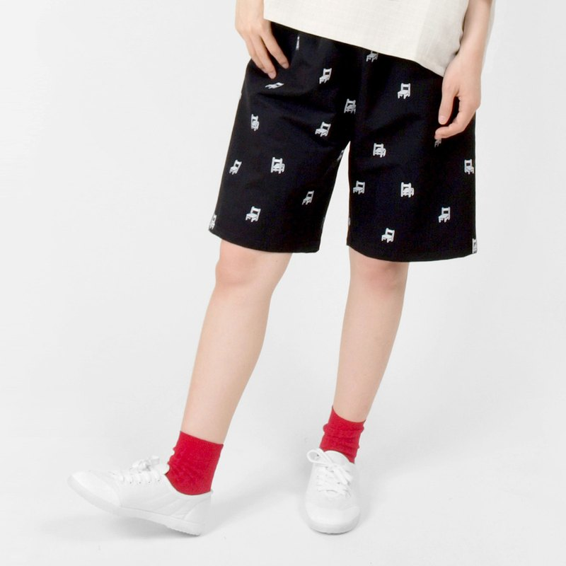 Pupils desks and chairs / 绢 printed loose five pants - black