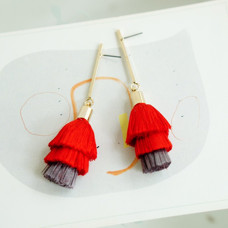 Silk Thread Tassels Post Earrings / Clip On Earrings red
