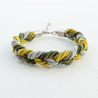 Green/Gray braided bracelet