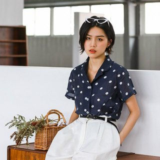 Fangfang Tencel linen 90 retro wave shirt short shirt loose shirt sleeves blue shirt