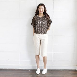 Brown Short Sleeve Over Size Tops Lace Cotton Soi-Fah