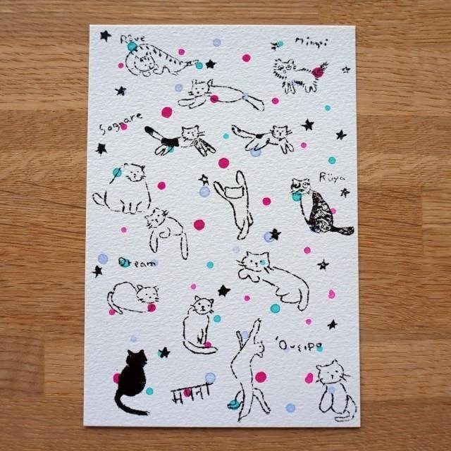 "Gully plate printing postcards ""cat"""