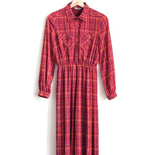 Vintage Elegant Plaid Vintage Long Sleeve Dress