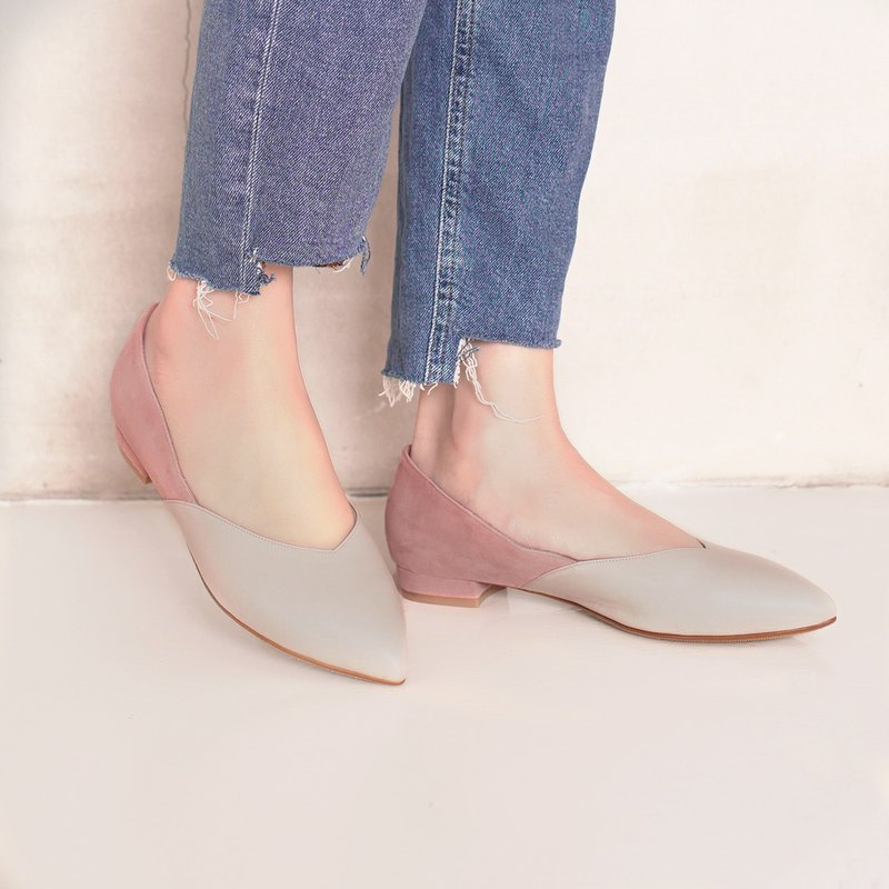 Slim fit feet! Elegant velvet two-tone flat shoes full leather MIT - nude × powder
